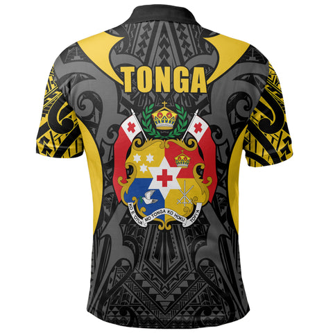 Tonga Polo Shirt - Kingdom of Tonga Black Gold J0
