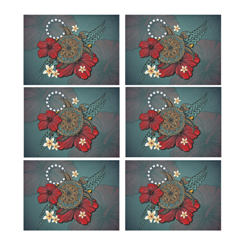 Cook Islands Placemat - Blue Turtle Tribal A02
