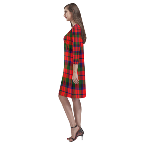 Macnaughton Modern Tartan Dress - Rhea Loose Round Neck Dress NN5