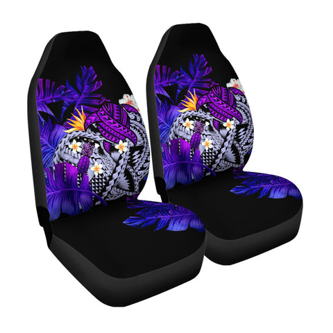 Kanaka Maoli (Hawaiian) Car Seat Cover, Polynesian Pineapple Banana Leaves Turtle Tattoo Purple