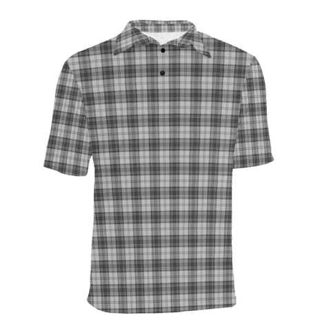 Image of Douglas Grey Modern  Tartan Polo Shirt HJ4