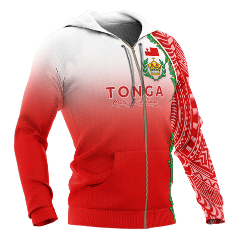 Tonga Zip-Up Hoodie - Ocean Waves
