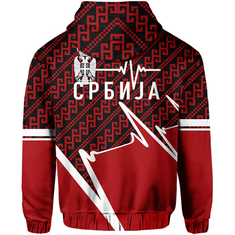 Serbia Hoodie - Србија In My Heartbeat