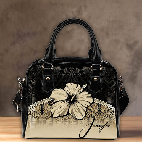 (Custom) Polynesian Shoulder Handbag Hibiscus Personal Signature | Special Custom Design
