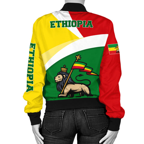 1stTheWorld Ethiopia Bomber Jacket, Ethiopia Flag Maps Green Women A10