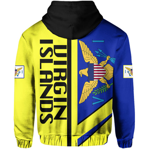 US Virgin Islands Half Concept Allover Zip Hoodie | Clothing | 1sttheworld - Islands Clothing