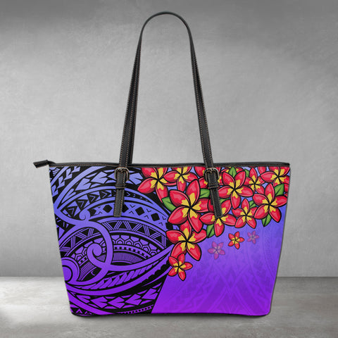 (Custom) Polynesian Leather Tote - Polynersian Plumeria Purple Personal Signature A24