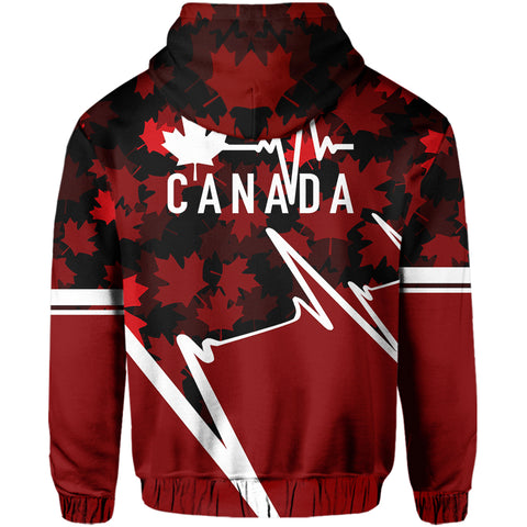 Canada Zip Hoodie - Canada In My Heartbeat