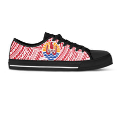 French Polynesia Canvas Shoe - Coat of Arms on Polynesian Pattern A0