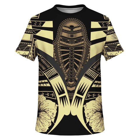 Polynesian Tattoo T Shirt Hibiscus Gold - Front