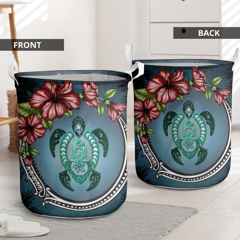 Kanaka Maoli (Hawaiian) Laundry Basket - Polynesian Ohana Turtle Hibiscus Mother Son | Love The World