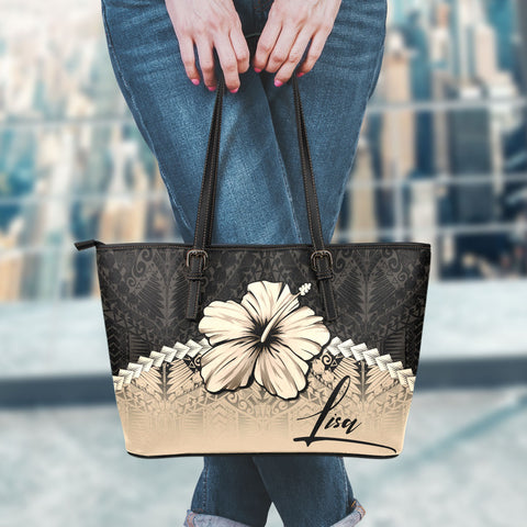 Image of (Custom) Polynesian Leather Tote Bag Hibiscus Personal Signature A02