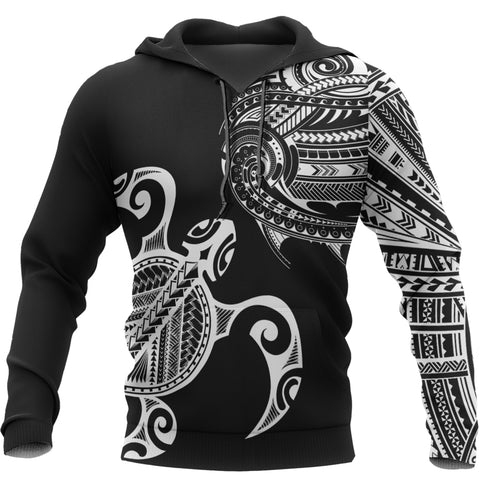 Image of Polynesian Turtle Tattoo Style All-Over Pullover Hoodie A07
