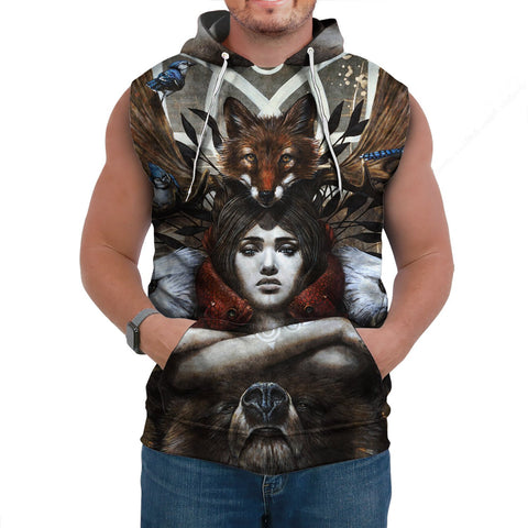 1stCanada Special Vintage Art Sleeveless Hoodie | Premium Quality | Fast Shipping