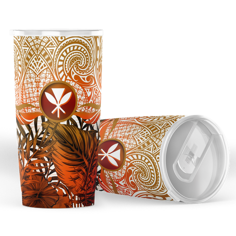 Kanaka Maoli (Hawaiian) Tumbler, Polynesian Palm Leaves Hibiscus Plumeria Flowers (Orange) | Love The World
