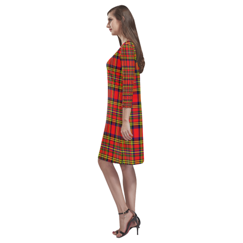 Hepburn Tartan Dress - Rhea Loose Round Neck Dress - BN