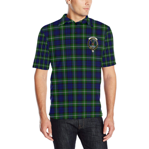Image of Forbes Modern Tartan Clan Badge Polo Shirt HJ4
