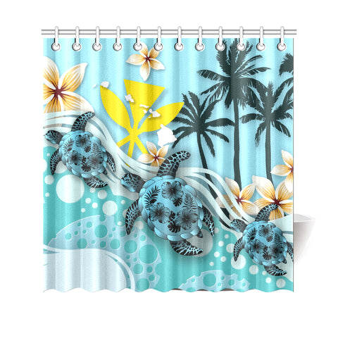 Hawaii Shower Curtain - Blue Turtle Hibiscus A24