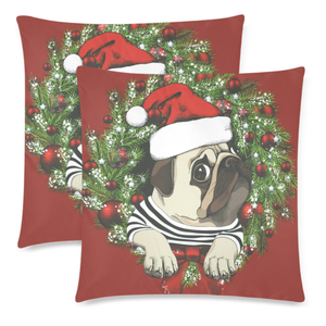 Red Pug Christmas Zippered Pillow H6