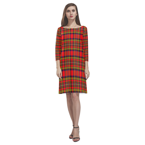 Hepburn Tartan Dress - Rhea Loose Round Neck Dress NN5