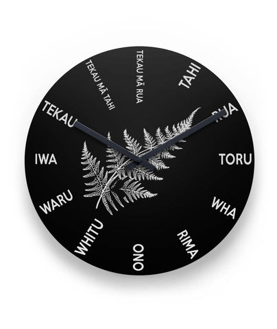 "Maori Language With Silver Fern New Zealand 11"" Round Wall Clock K9New Zealand Wall Clock, Maori Wall Clock, Mauri Wall Clock"