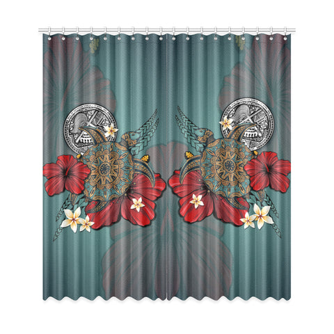 Image of American Samoa Window Curtain - Blue Turtle Hibiscus A24