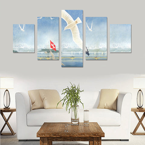 Image of Switzerlands Zurich 5 Piece Framed Canvas (No Frame) K5