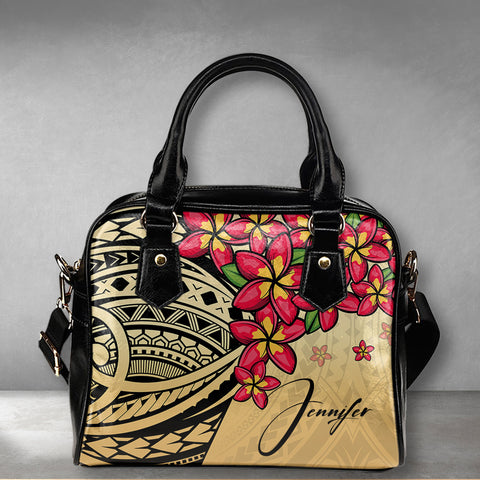 (Custom) Polynesian Plumeria Gold Shoulder Handbag Personal Signature A24