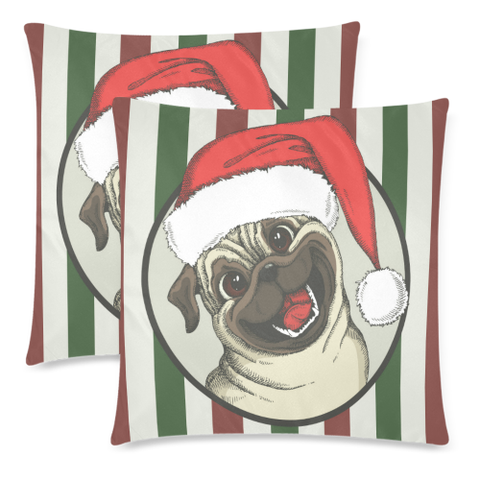 Image of Stripe Pug Christmas Zippered Pillow H6