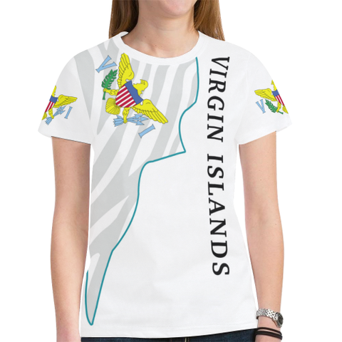 US Virgin Islands Men/Women's Black-White T-shirt 01 H9