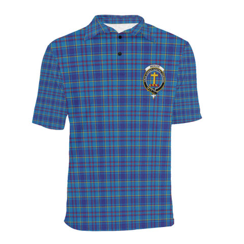 Mercer Modern Tartan Clan Badge Polo Shirt HJ4