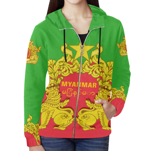 Myanmar Hoodie Burmese Chinthe - Burmese Flower (Zip) TH5