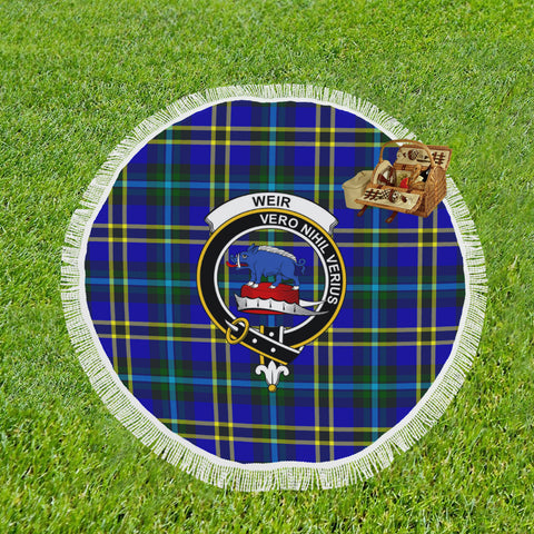 WEIR MODERN CLAN BADGE TARTAN BEACH BLANKET th8