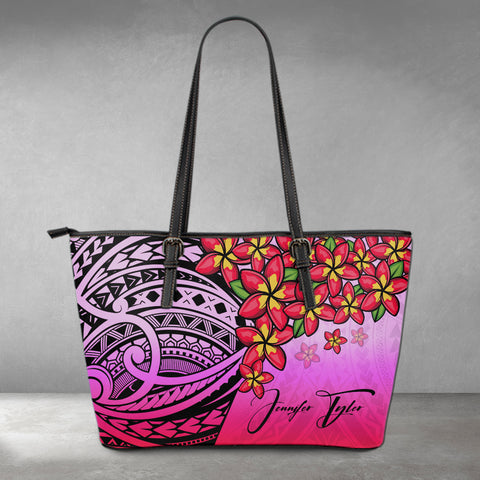 (Custom) Polynesian Leather Tote - Polynersian Plumeria Pink Personal Signature A24