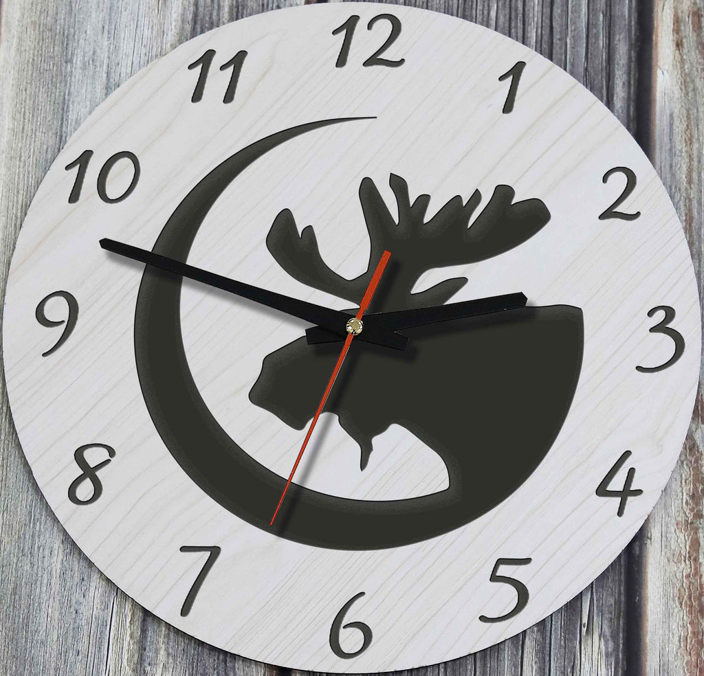Canada Wooden Wall Clock Moon And Moose 1sttheworld