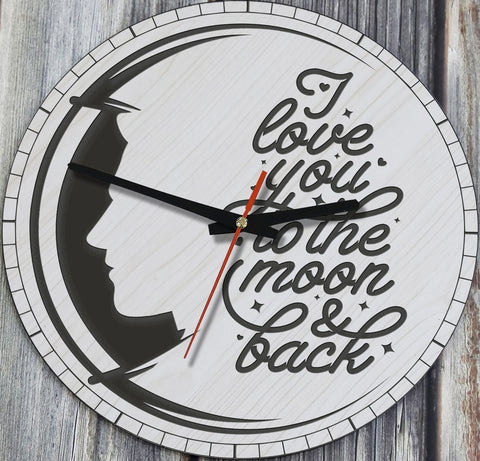 I Love You To The Moon And Back Version Gentlemen Face Wooden Wall Clock