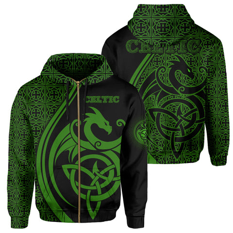 Celtic Zip Hoodie - Celtic Dragon - Green | 1sttheworld