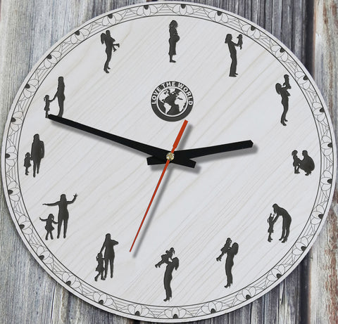Mother And Daughter Wooden Wall Clock