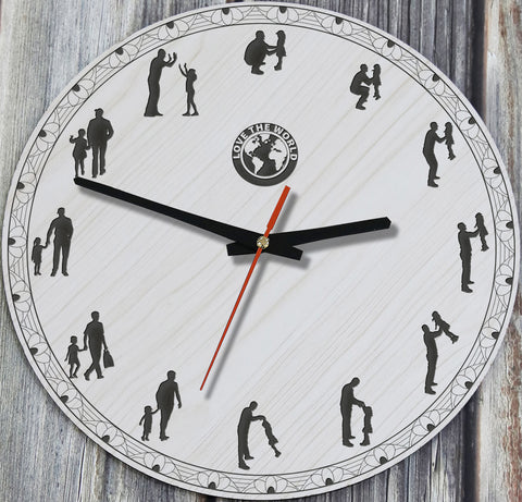 Father And Daughter Wooden Wall Clock