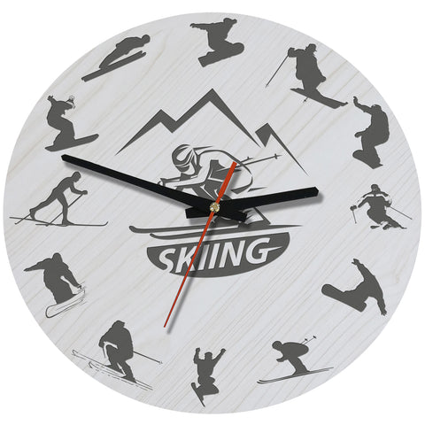 Skiing Wooden Wall Clock J2
