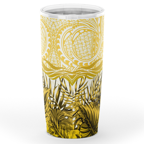 Kanaka Maoli (Hawaiian) Tumbler, Map Polynesian Palm Leaves Hibiscus Plumeria Flowers (Yellow) A18