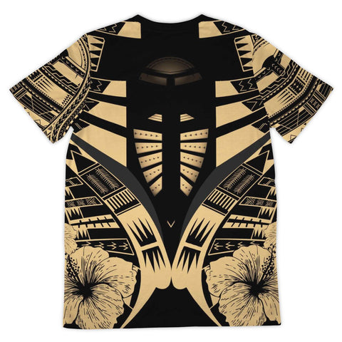Image of Polynesian Tattoo T Shirt Hibiscus Gold - Back 2