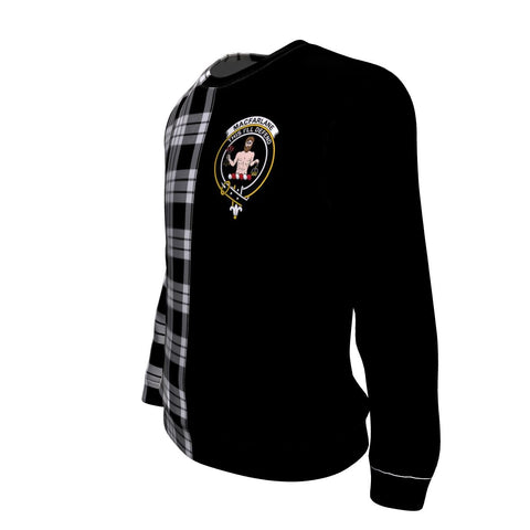 MacFarlane Black & White Tartan Sweatshirt - Half Style TH8