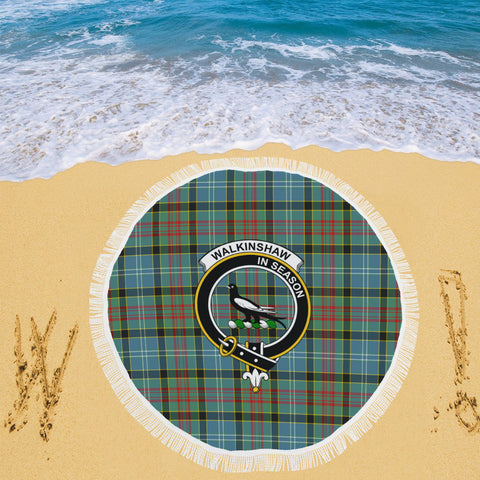 WALKINSHAW CLAN BADGE TARTAN BEACH BLANKET th8