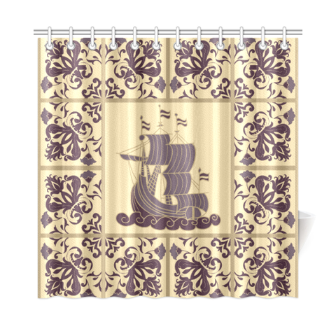 Azulejos shower curtain | Online shopping custom Portuguese tiles shower curtain
