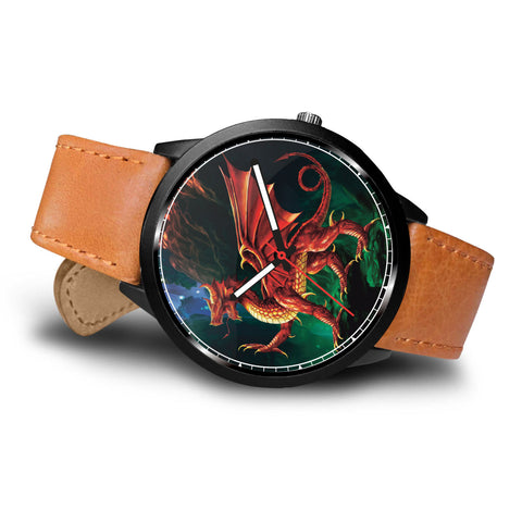 WELSH DRAGON LEATHER/STEEL WATCH - BN
