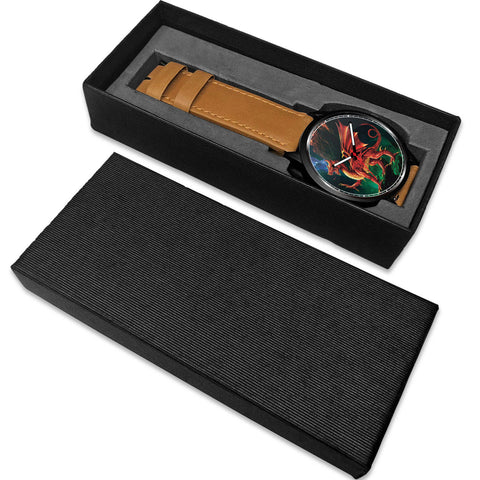 Image of Welsh Dragon Leather/Steel Watch - Bn |Men and Women| 1sttheworld