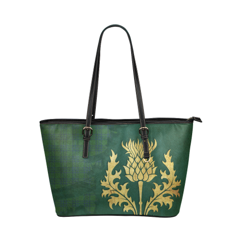 Montgomery Ancient Tartan - Thistle Royal Leather Tote Bag