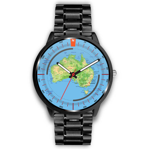 Australia Physical Map Leather-Steel Watch K7 |Men and Women| 1sttheworld