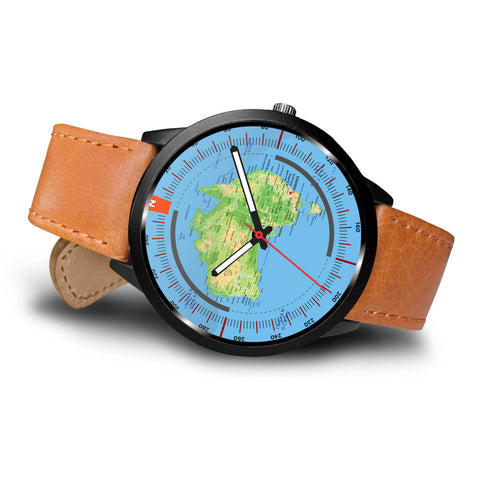AUSTRALIA PHYSICAL MAP LEATHER-STEEL WATCH K7